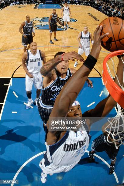 Brendan Haywood of the Dallas Mavericks dunks against the Orlando Magic during the game on February 19 2010 at Amway Arena in Orlando Florida NOTE TO...
