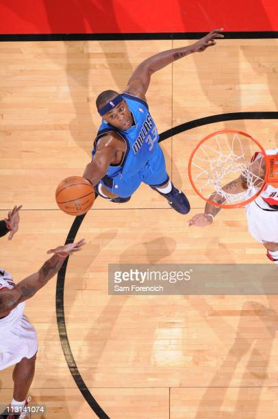 Brendan Haywood of the Dallas Mavericks shoots against the Portland Trail Blazers in Game Four of the Western Conference Quarterfinals in the 2011...