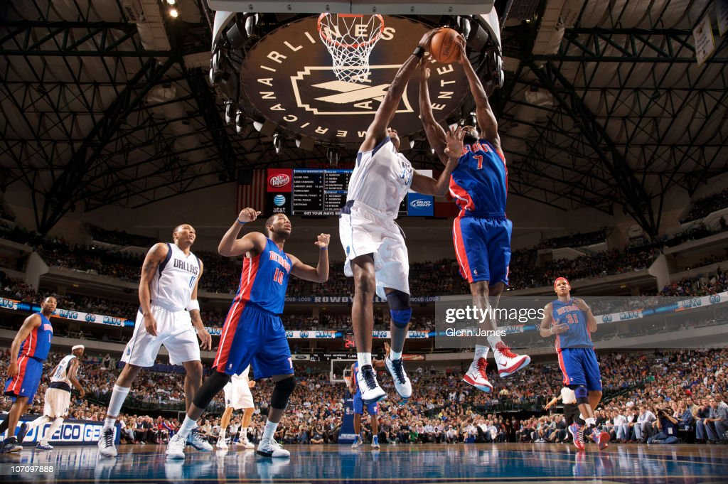 Brendan Haywood #33 of the Dallas Mavericks tries to get a blocked shot against Ben Gordon #7 of the Detroit Pistons during a game on November 23, 2010 at the American Airlines Center in Dallas, Texas.