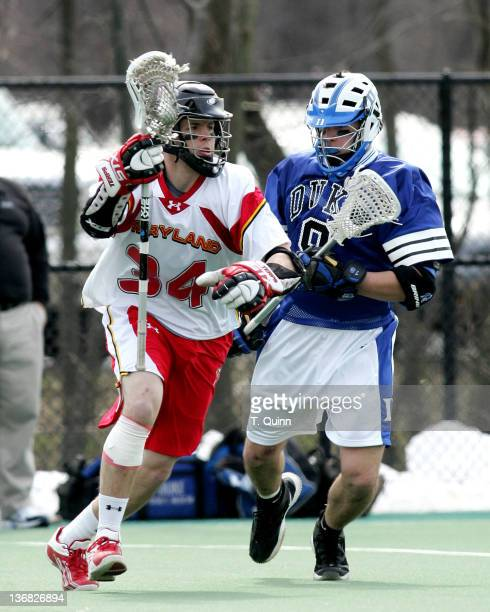 Brendan Healy of Maryland and Gavin Webb of Duke in action at the University of Maryland in College Park Maryland on March 5 2005 Duke won 108