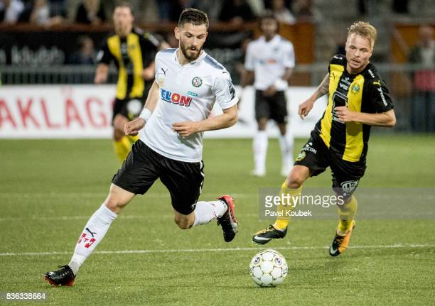 Brendan HinesIke of Orebro SK Sander Svendsen of Hammarby IF during the Allsvenskan match between Orebro SK and Hammarby IF at Behrn Arena on August...