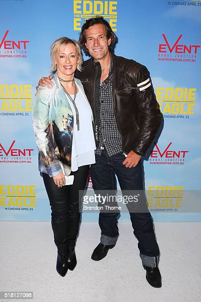 Brendan Jones and Amanda Keller arrives ahead of the Eddie The Eagle screening at Event Cinemas Bondi Junction on March 30 2016 in Sydney Australia