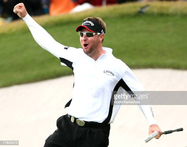 Brendan Jones of Australia celebrates his winning putt on the 18th hole during the final round of Sumitomo Visa Taiheiyo Masters at Taiheiyo Club...