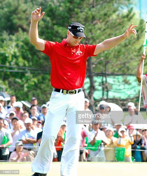 Brendan Jones of Australia celebrates holing the birdie putt on the 18th green during the final round of the Sun Chlorella Classic at Otaru Country...