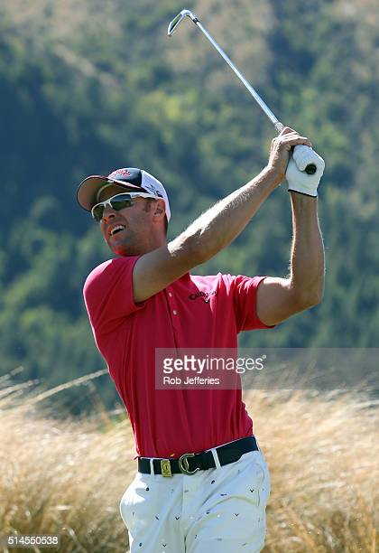 Brendan Jones of Australia his an iron at The Hills during the BMW ISPS Handa New Zealand Open on March 10 2016 in Queenstown New Zealand