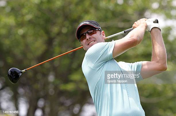 Brendan Jones of Australia hits a tee shot on the 10th hole during the final round of the Japan Golf Tour Championship Citibank Cup Shishido Hills...