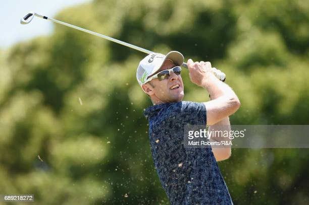 Brendan Jones of Australia hits his tee shot on the 16th hole during the final round of Mizuno Open at JFE Setonaikai Golf Club on May 28 2017 in...