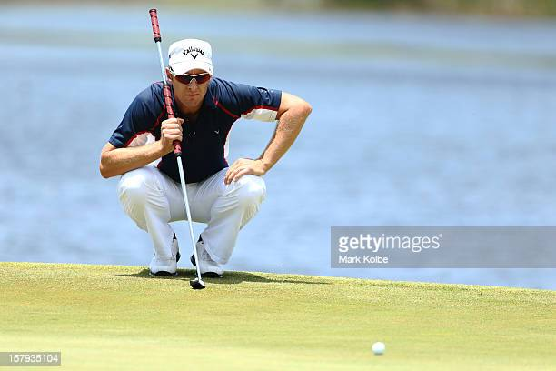 Brendan Jones of Australia lines up a putt during round three of the 2012 Australian Open at The Lakes Golf Club on December 8 2012 in Sydney...