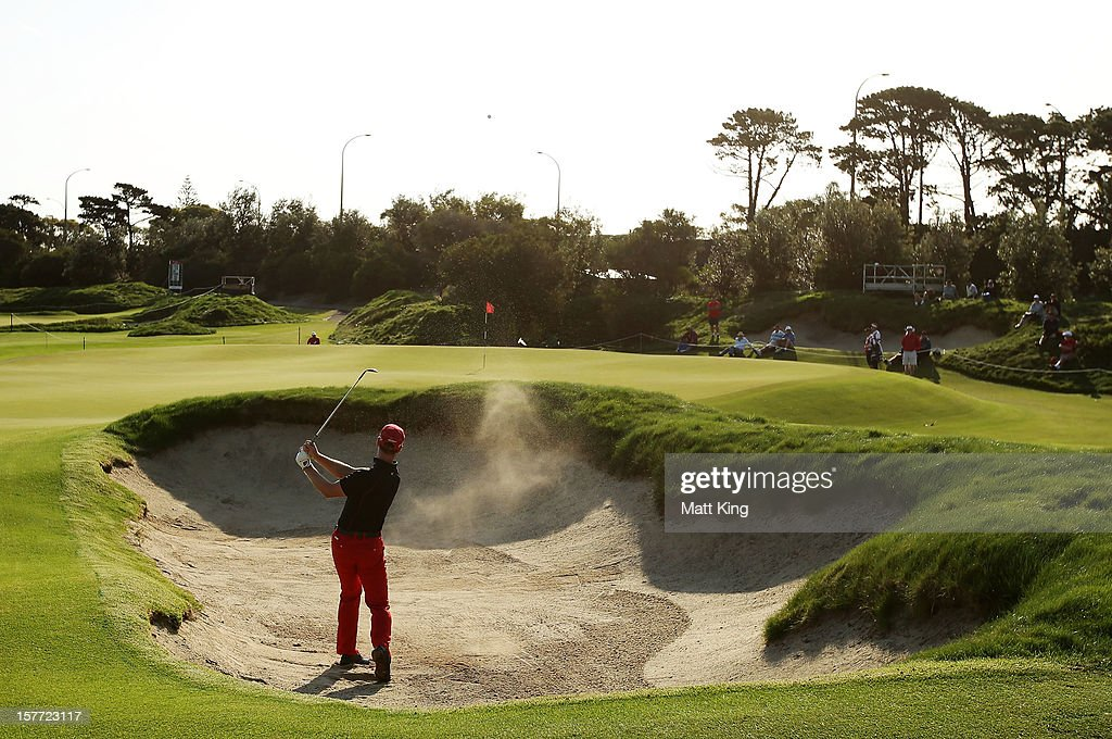 Brendan Jones of Australia plays a bunker shot during day one of the 2012 Australian Open at The Lakes Golf Club on December 6, 2012 in Sydney, Australia.
