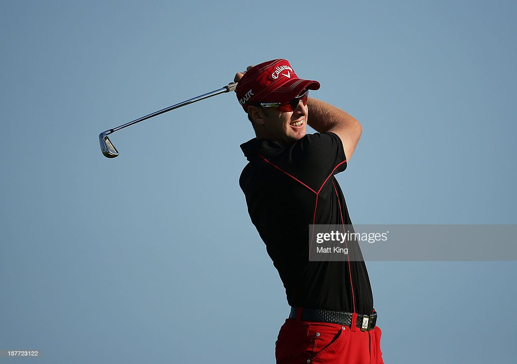 Brendan Jones of Australia plays a fairway shot during day one of the 2012 Australian Open at The Lakes Golf Club on December 6, 2012 in Sydney, Australia.