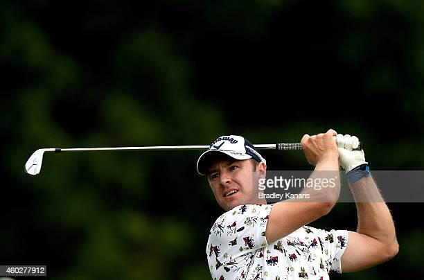 Brendan Jones of Australia plays a shot on the fourth hole during day one of the 2014 Australian PGA Championship at Royal Pines Resort on December...