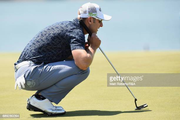 Brendan Jones of Australia waits to putt on the 18th green during the final round of Mizuno Open at JFE Setonaikai Golf Club on May 28 2017 in...