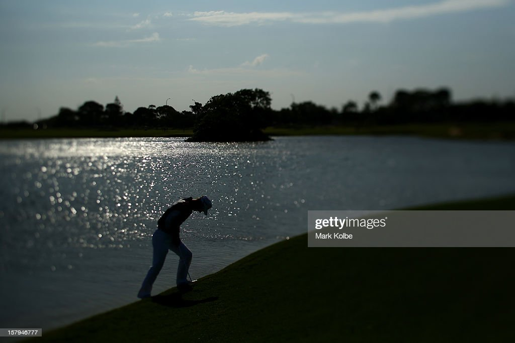 Brendan Jones of Australia walks up the slope after playing a shot during round three of the 2012 Australian Open at The Lakes Golf Club on December 8, 2012 in Sydney, Australia.