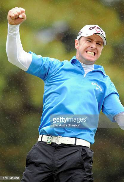 Brendan Jones of the United States celebrates winning the Chunichi Crowns at Nagoya Golf Club Wago Course on May 1 2011 in Togo Aichi Japan