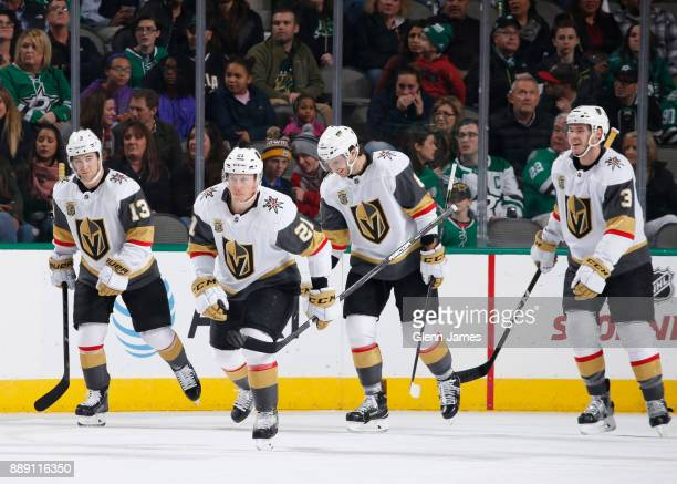Brendan Leipsic Cody Eakin Brayden McNabb and the Vegas Golden Knights celebrate a goal against the Dallas Stars at the American Airlines Center on...