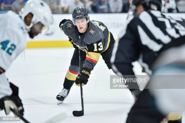 Brendan Leipsic of the Vegas Golden Knights awaits a faceoff against the San Jose Sharks during the game at TMobile Arena on October 1 2017 in Las...