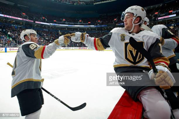Brendan Leipsic of the Vegas Golden Knights congratulates Jonathan Marchessault after his goal during their NHL game against the Vancouver Canucks at...