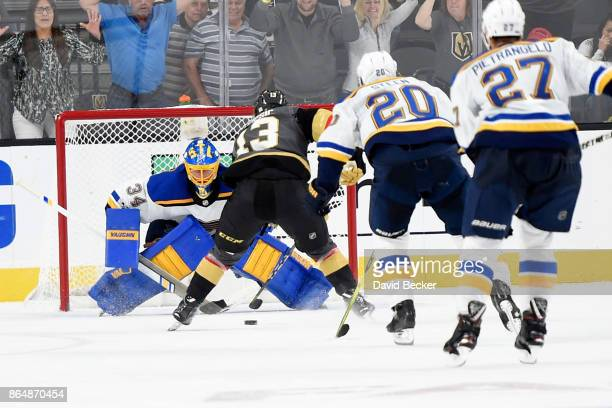 Brendan Leipsic of the Vegas Golden Knights lines up a shot against goalie Jake Allen of the St Louis Blues at TMobile Arena on October 21 2017 in...