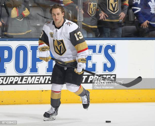 Brendan Leipsic of the Vegas Golden Knights skates in the warmup prior to playing against the Toronto Maple Leafs during an NHL game at the Air...