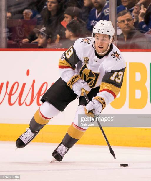 Brendan Leipsic of the Vegas Golden Knights skates with the puck during NHL action against the Vancouver Canucks on November 2017 at Rogers Arena in...
