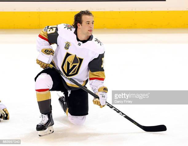 Brendan Leipsic of the Vegas Golden Knights takes part in the pregame warm up prior to NHL action against the Winnipeg Jets at the Bell MTS Place on...