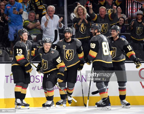 Brendan Leipsic Vadim Shipachyov Alex Tuch Deryk Engelland and Jon Merrill of the Vegas Golden Knights celebrate after Tuch and Engelland assisted...