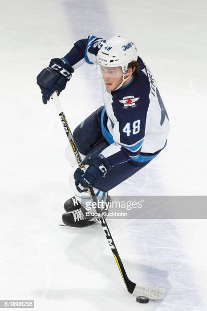 Brendan Lemieux of the Winnipeg Jets skates with the puck against the Minnesota Wild during the game at the Xcel Energy Center on October 31 2017 in...