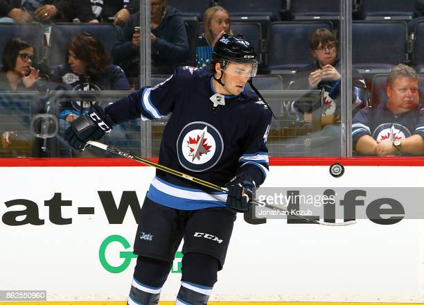 Brendan Lemieux of the Winnipeg Jets takes part in the pregame warm up prior to NHL action against the Columbus Blue Jackets at the Bell MTS Place on...