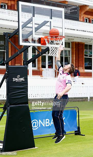 Brendan McCullum of Middlesex and New Zealand shows off his basketball skills at Lords on June 2 2016 in London England