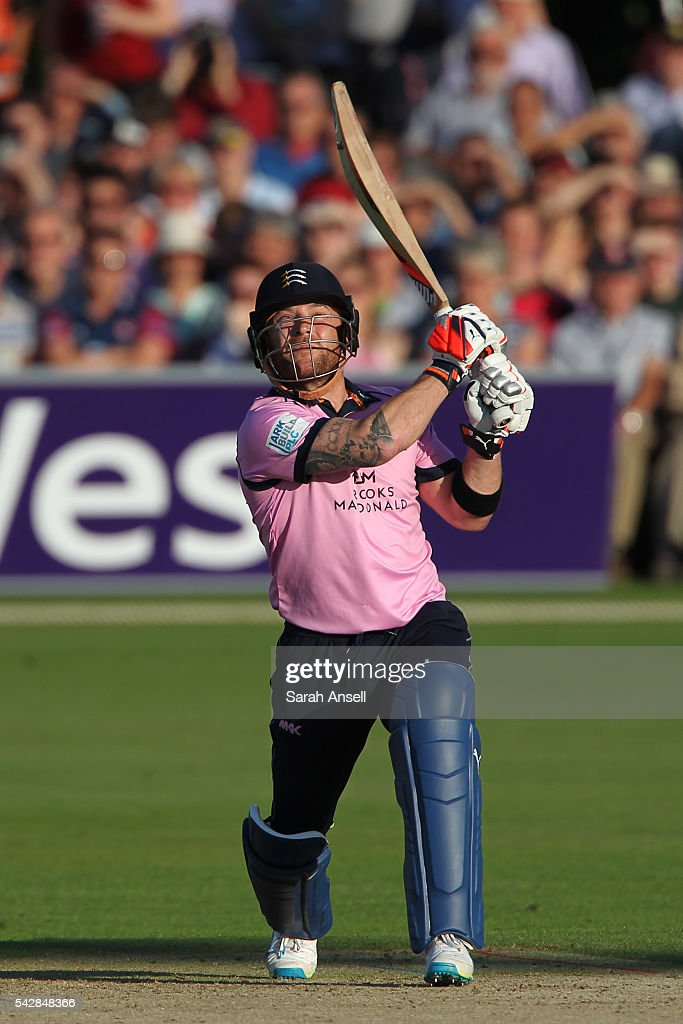 Brendan McCullum of Middlesex hits a six during the Natwest T20 Blast match between Kent and Middlesex at The Spitfire Ground on June 24, 2016 in Canterbury, England.