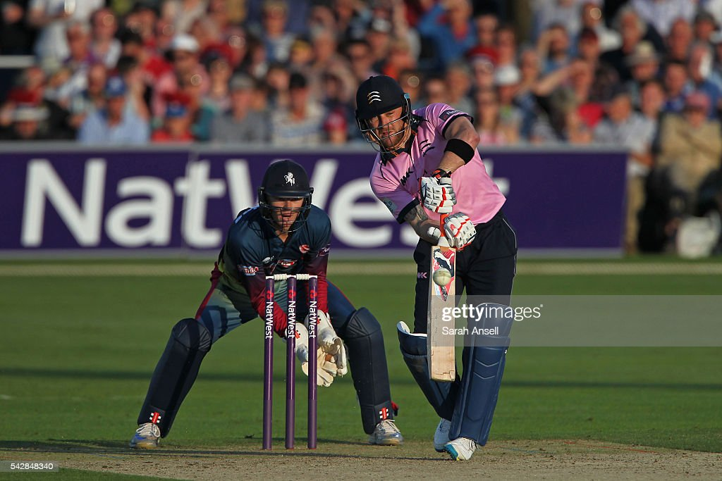 Brendan McCullum of Middlesex hits out as Kent wicket keeper <a gi-track='captionPersonalityLinkClicked' href=/galleries/search?phrase=Sam+Billings&family=editorial&specificpeople=7625253 ng-click='$event.stopPropagation()'>Sam Billings</a> looks on during the Natwest T20 Blast match between Kent and Middlesex at The Spitfire Ground on June 24, 2016 in Canterbury, England.