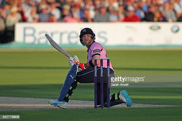 Brendan McCullum of Middlesex scoops the ball for four runs during the Natwest T20 Blast match between Kent and Middlesex at The Spitfire Ground on...