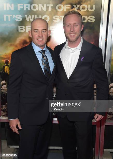 Brendan McDonough andPat McCarty attend 'Only The Brave' screening at iPic Theater on October 17 2017 in New York City
