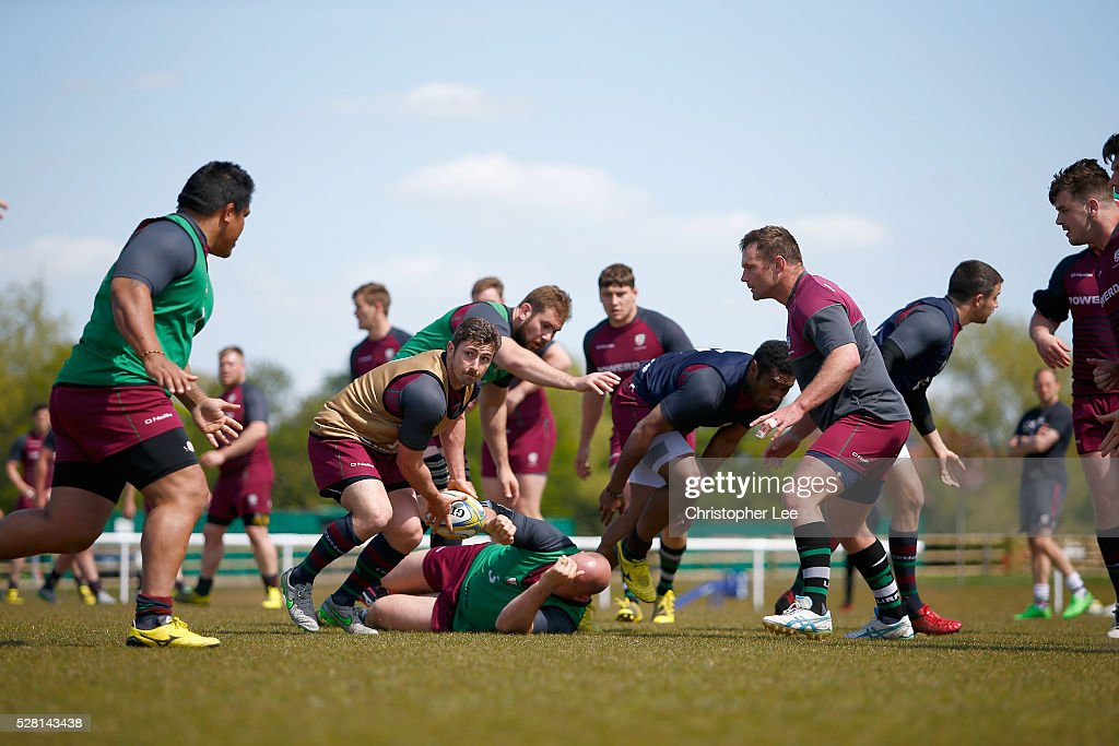 Brendan McKibbin of London Irish in action during the London Irish Media Session at Hazelwood Centre on May 4, 2016 in Sunbury, England.