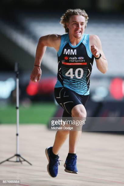 Brendan Myers of GWS Academy takes part in the 20m sprint during the AFL Draft Combine at Etihad Stadium on October 5 2017 in Melbourne Australia