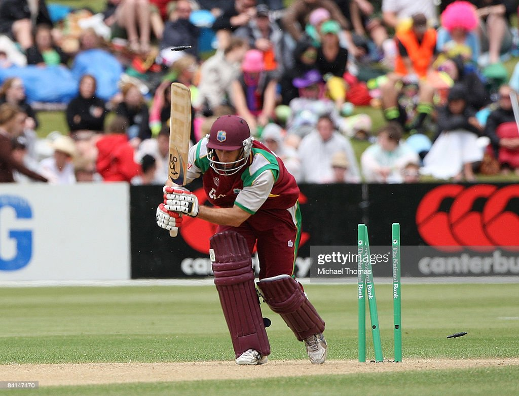 Brendan Nash of the West Indies is bowled during the First One Day International Match between New Zealand and the West Indies at Queenstown Events...
