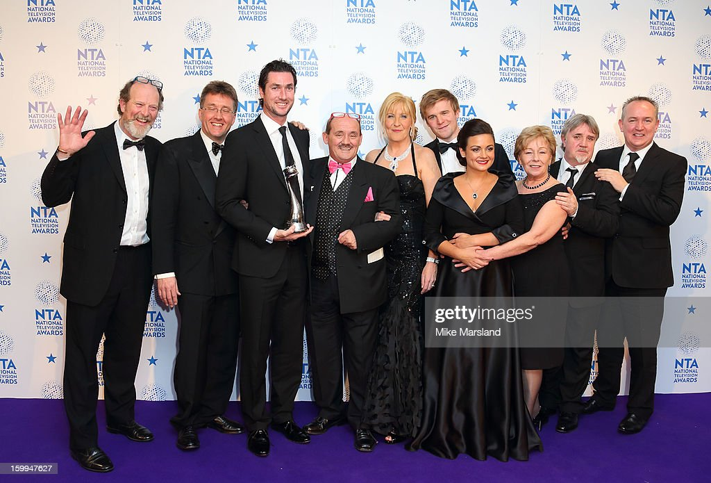 Brendan O'Carroll, Jennifer Gibney and the cast of 'Mrs Brown's Boys' poses in the winners room at the National Television Awards at 02 Arena on January 23, 2013 in London, England.