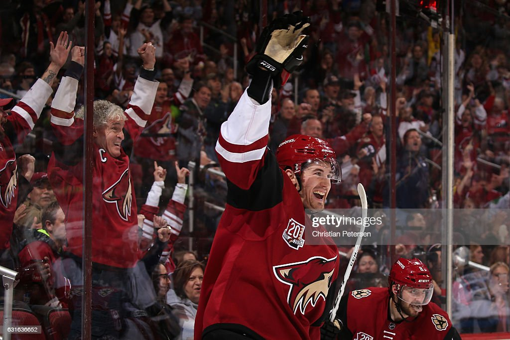 Brendan Perlini #29 of the Arizona Coyotes celebrates after scoring a goal against the Winnipeg Jets during the first period of the NHL game at Gila River Arena on January 13, 2017 in Glendale, Arizona.
