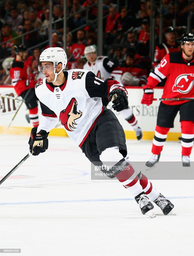 Brendan Perlini #11 of the Arizona Coyotes skates in the second-period during the game against the New Jersey Devils at Prudential Center on October 28, 2017 in Newark, New Jersey.
