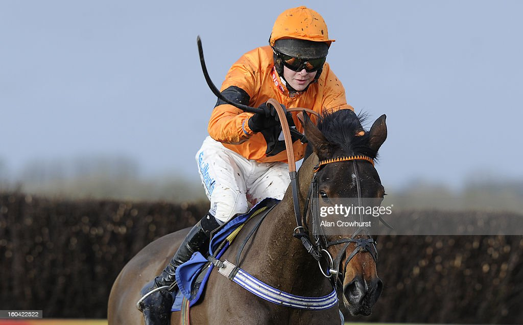 Brendan Powell riding Milans Well clear the last to win The Carling Johny Whitcombe Fan Club Novices' Steeple Chase at Wincanton racecourse on January 31, 2013 in Wincanton, England.