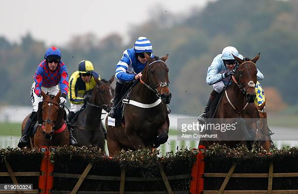 Brendan Powell riding Miss Estela clear the last to win The Gardiner Theobald Novices' Handicap Hurdle Race at Ascot Racecourse on October 29 2016 in...
