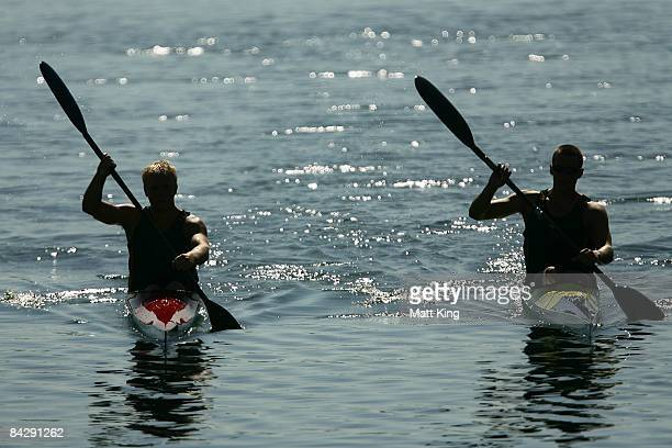 Brendan Rice and Luke Haniford of Australia warm down after competing in the K1 1000 heats during day two of the Australian Youth Olympic Festival at...