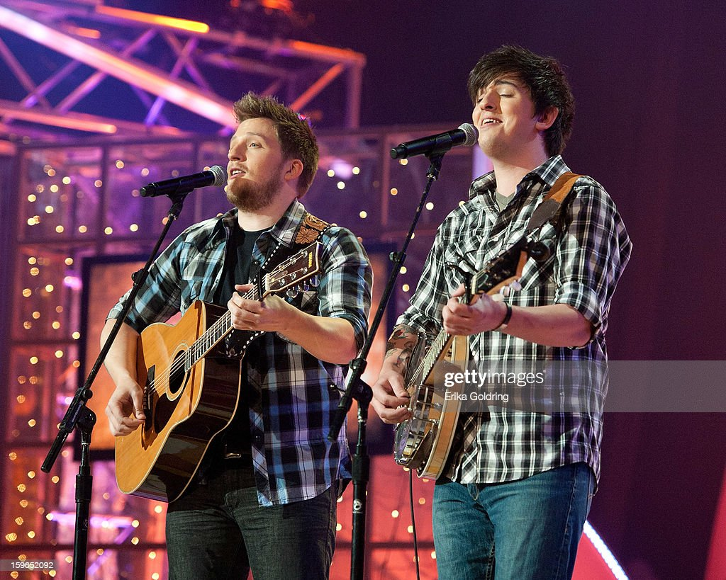 Brendan Roberson and Rhett Roberson of the Brothers Roberson perform at the 31st annual Texaco Country Showdown fational final at the Ryman Auditorium on January 17, 2013 in Nashville, Tennessee.