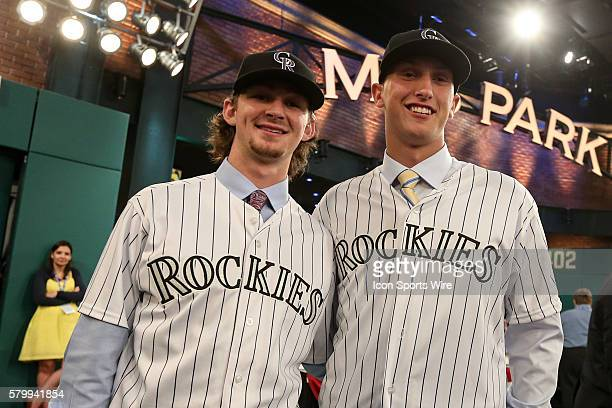 Brendan Rodgers and Mike Nikorak are chosen by the Colorado Rockies in the round 1of the 2015 Major League Baseball FirstYear Player Draft at Studio...