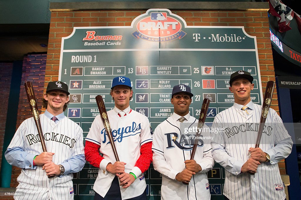 Brendan Rodgers Ashe Russell Garrett Whitley and Mike Nikorak pose for a photo during the 2015 Major League Baseball FirstYear Player Draft at MLB...