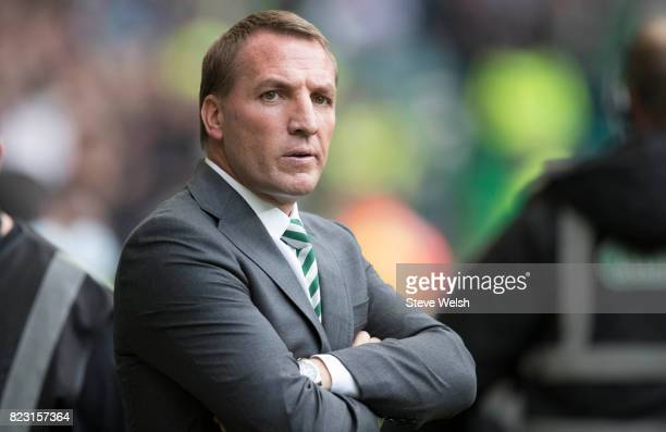 Brendan Rodgers Celtic Manager looks on during the UEFA Champions League Qualifying Third Round First Leg match between Celtic and Rosenborg at...