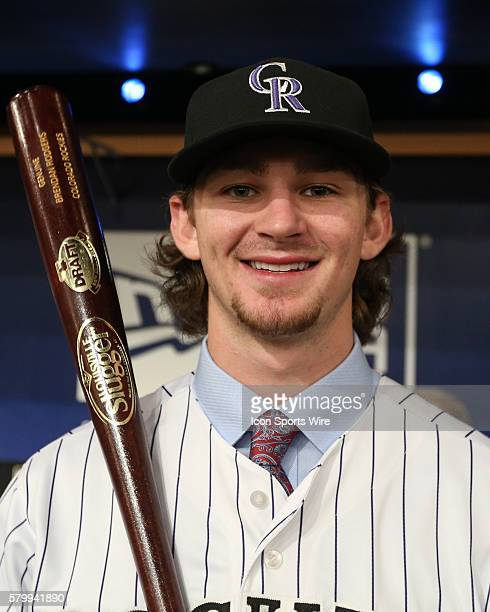 Brendan Rodgers is chosen by the Colorado Rockies in the round 1of the 2015 Major League Baseball FirstYear Player Draft at Studio 42 of the MLB...