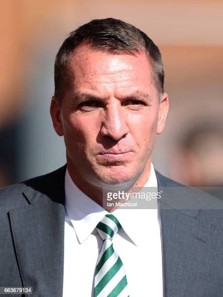 Brendan Rodgers manager of Celtic arrives at the stadium prior to the Ladbrokes Scottish Premiership match between Hearts and Celtic at Tynecastle...