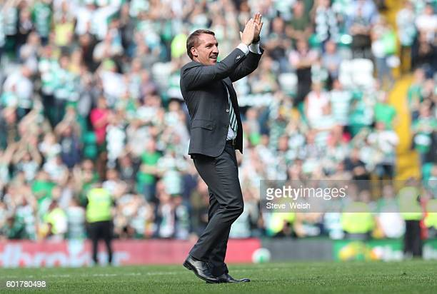 Brendan Rodgers manager of Celtic celebrates at the end of the Ladbrokes Scottish Premiership match between Celtic and Rangers on September 10 2016...