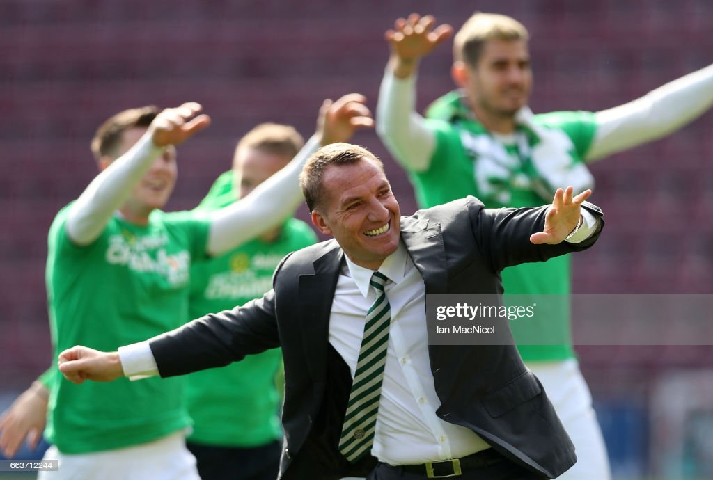 Brendan Rodgers manager of Celtic celebrates winning the league title after beating Hearts 5-0 after the Ladbrokes Scottish Premiership match between Hearts and Celtic at Tynecastle Stadium on April 2, 2017 in Edinburgh, Scotland.